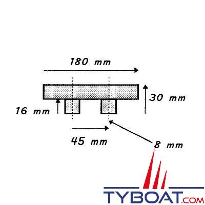 Lot de 2 Taquets coinceur aluminium anodisé longueur 180 mm