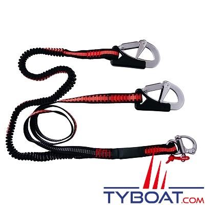 For water - Longe élastique de sécurité pour harnais  -3 mousquetons - 110/190 cm