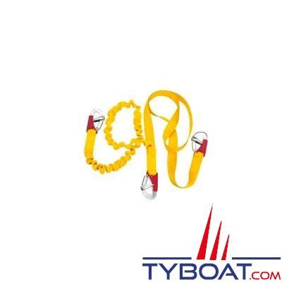 Longe double élastique Plastimo pour gilets gonflables et harnais 3 mousquetons double sécurité - longueur 1 m. fixe + brin extensible 2 m.