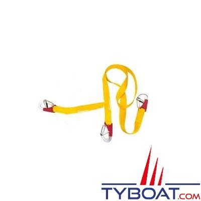 Longe double Plastimo pour gilets gonflables et harnais 3 mousquetons double sécurité - longueur 2 m. + 1 m.
