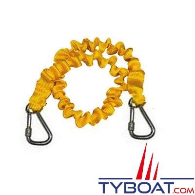 Longe simple élastique Plastimo pour gilets gonflables et harnais 2 mousquetons - longueur 2 m.