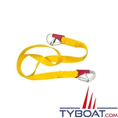 Longe simple Plastimo pour gilets gonflables et harnais 2 mousquetons double sécurité - longueur 2 m.