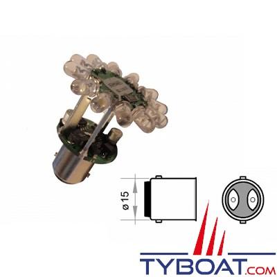 MANTAGUA - Ampoule de navigation à led - BAY15D - 2,4 Watts - 9/30 Volts - Blanc - 3MN