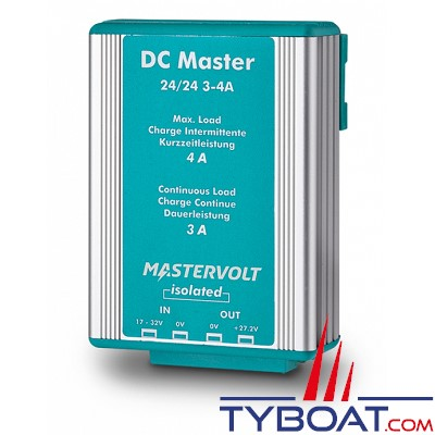 MASTERVOLT - Convertisseur DC/DC - DC MASTER 24/4-3A - Isolé - 24 Volts - 82 Watts - 3 Ampères