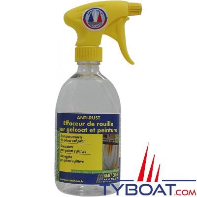 Matt Chem Marine - ANTI RUST -  Effaceur de rouille sur Gelcoat et peinture - Spray 500 ml