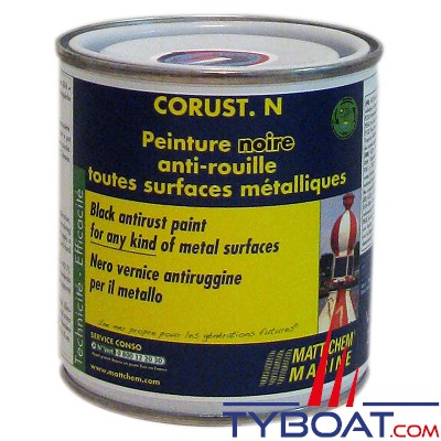 Matt Chem Marine - CORUST - Peinture brillante anti-rouille - Noir - 250 ml