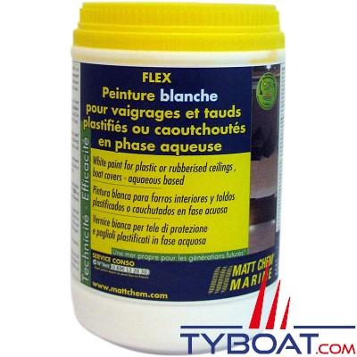 Matt Chem Marine - FLEX - Peinture blanche pour tauds et vaigrages plastifiés - 1 kg