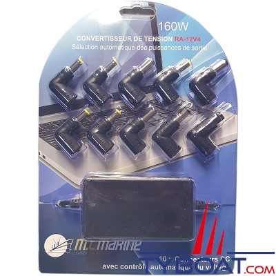 MC marine - Convertisseur 12V / 15-24V + allume-cigare 160 Watts