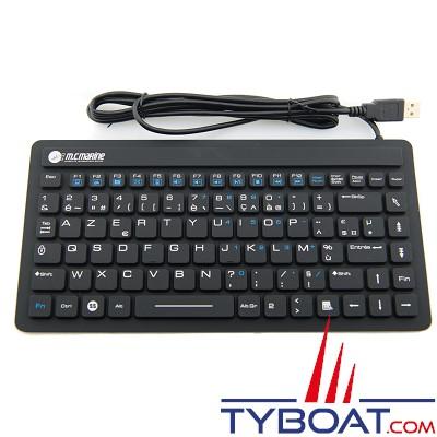 Clavier industriel - Compact noir étanche silicone IP68 USB - AZERTY