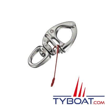 Mousqueton à ouverture sous charge Wichard inox H.R longueur  80 mm Ø16 mm - émerillon oeil standard Ø12 mm