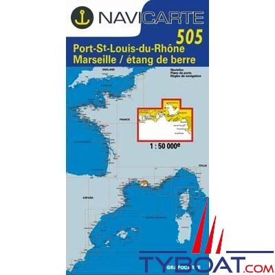 Navicarte n°505 - Port St-Louis-du-Rhône, Marseille, étang de Berre - carte simple
