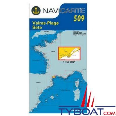 Navicarte n°509 - Valras, Sète, étang de Thau - carte simple