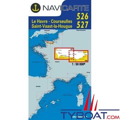 Navicarte n°526 et n°527 - le Havre, Courseulles, St Vaast la Houge - carte double