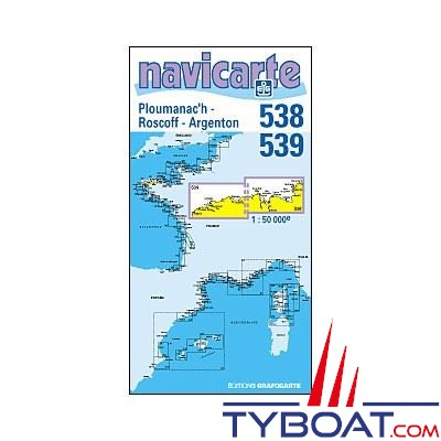 Navicarte n°538 et n°539 - Ploumanac'h, Roscoff, Argenton - carte double