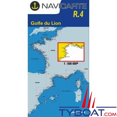Navicarte n°R4 - Golfe du Lion Sainte Maxime, Barcelone - carte grand routier