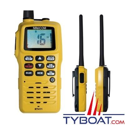 NAVICOM - VHF portable RT411 - Etanche IPX6 et flottante - 5 Watts - Batterie lithium + chargeur 220 Volts
