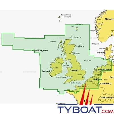 Navionics - Carte marine Navionics+ - 28XG  Rayaume-Uni, Irlande et Pays-Bas