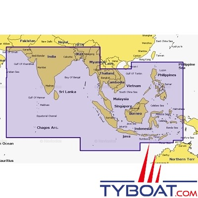 Navionics - Carte marine Navionics+ - 31XG  Océan Indien et Sud Mer de Chine