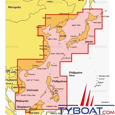 Navionics - Carte marine Navionics+ - 35XG  Mer de Chine et Japon