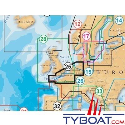 Navionics - Carte marine Platinum+ XL3 - Zone 25P+ - Manche Mer du Nord méridionale