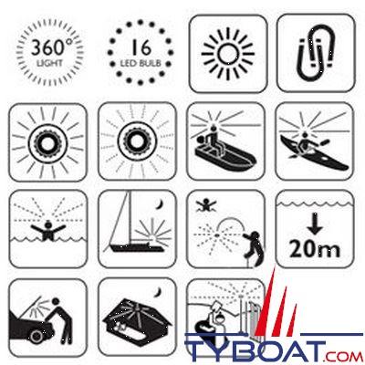 NAVISAFE - Lampe de sécurité Navi Light 360° Rescue 2 MN 16 Leds blanches - coque verte