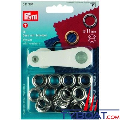 Oeillet Prym laiton nickelé inoxydable Ø 11mm (x15 pièces + outils)
