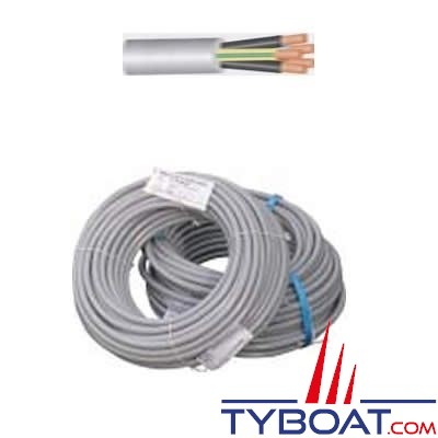 Câble souple HO5VVF 3 x 1,5 mm² gaine grise - touret 50 mètres