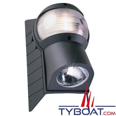 PERKO - Feu tête de mât avec projecteur de pont halogène - Noir
