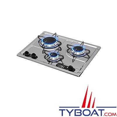 Plaque de cuisson à gaz Can 3 feux inox 530 x 380 mm