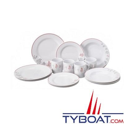 Plastimo - 4 assiettes plates/déssert /creuses + 4 Mugs - Melamine - Boite de 16 pièces - Coral reef