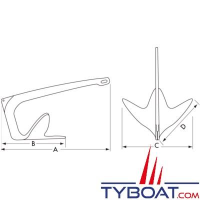 PLASTIMO - Ancre FHD - Longueur maxi bateau 6.5 mètres - INOX 316L