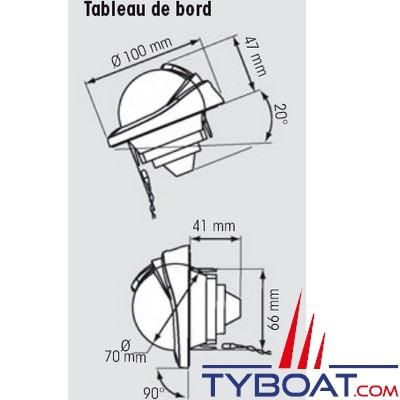 Plastimo - Compas Offshore 75 cloison verticale ou inclinée 20/90° - noir rose gris pâle