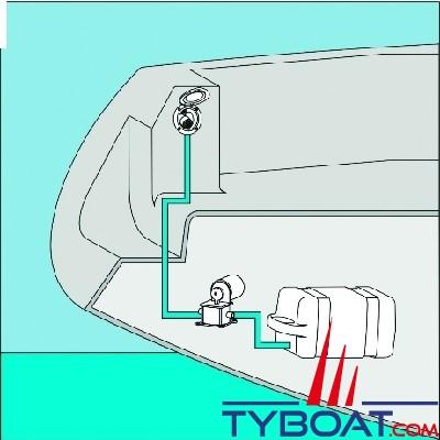 Plastimo - Ez Water douchette blanche boîtier chromé rond encastré + 3 mètres de tuyau