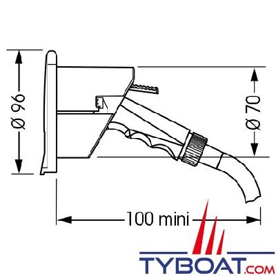 Plastimo - Ez Water douchette blanche boîtier noir rond encastré + 3 mètres de tuyau