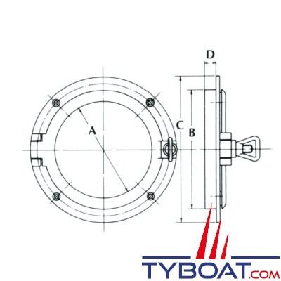 PLASTIMO - Hublot laiton poli - Ø 150 mm