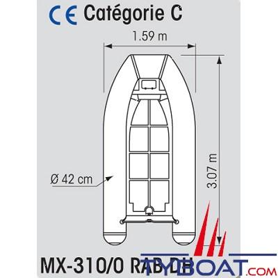 Plastimo - MX-310/0 RAB DH - Annexe Hypalon - Fond & coque alu - 3.10 mètres - Charge maxi 495 kg