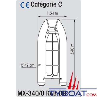 Plastimo - MX-340/0 RAB DH - Annexe Hypalon - Fond alu - 3.40 mètres - Charge maxi 550 kg