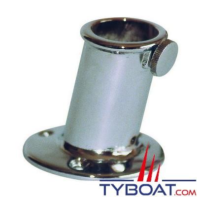 Plastimo - Support de hampe laiton chromé - Ø25 - 50mm - base ronde Ø55 - inclinaison 80° - à visser