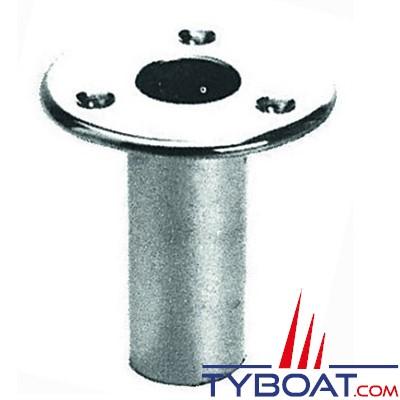 Plastimo - Support de hampe laiton chromé - Ø25 - 80mm - base ronde Ø72 - droit - à encastrer