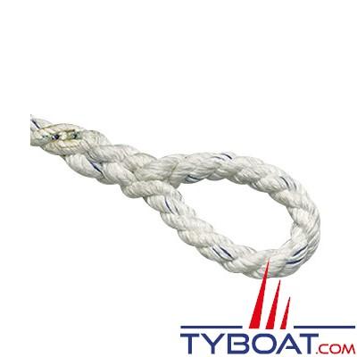 Bosse d'amarrage - Ø 16 mm - blanc - 3 torons polyester - Longueur 10 mètres - Extrémité à oeil