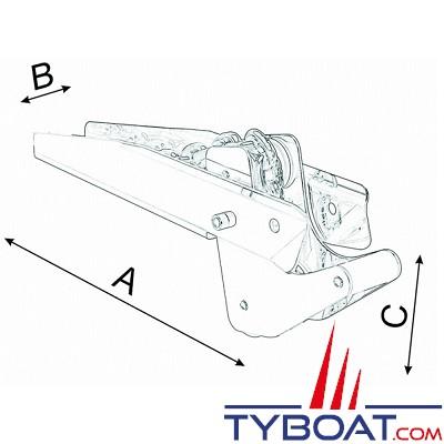Davier à bascule inox 500 x 80 mm pour ancre 20 Kg maxi - chaîne Ø 8-10mm