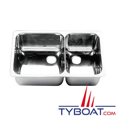 Évier double inox 608 x 368 mm grand bac à gauche