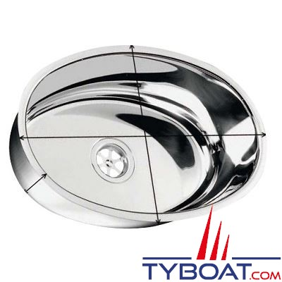 Evier inox ovale 385 x 265 mm