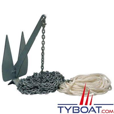 Kit mouillage complet ancre Britany 10 kg + chaine Ø8 mm longueur 15 m. + cordage Ø14 mm longueur 23 m. + manille lyre Ø10 mm
