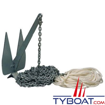Kit mouillage complet ancre Britany 12 kg + chaine Ø8 mm longueur 18 m. + cordage Ø14 mm longueur 27 m. + manille lyre Ø10 mm