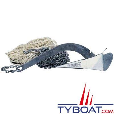 Kit mouillage complet ancre Kobra 6 kg + chaine Ø6 mm longueur 10 m. + cordage Ø8 mm longueur 30 m. + manille lyre Ø8 mm