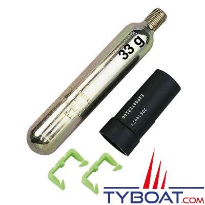 Kit recharge pour gilet gonflable 150N automatique cartouche 33 g. + pastille  de sel + clips