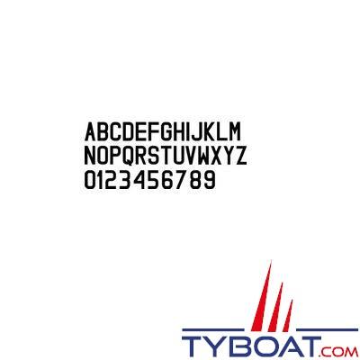 Lettre noire -W- hauteur 8 cm pour coque dure