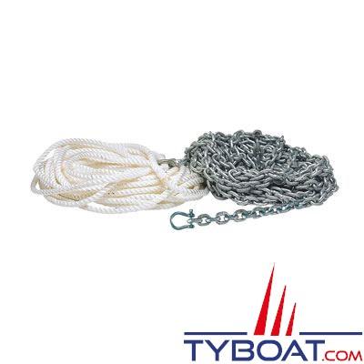 Ligne de mouillage pour ancre 12 à 14 kg - chaine galva Ø8 mm longueur 18 m. + cordage Ø14 mm longueur 32 m. + manille Ø10 mm