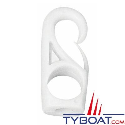 Mousqueton polyamide blanc à oeil pour sandow Ø 10mm  (x10)